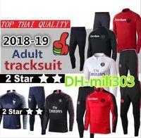 chándal paris al por mayor-2018 2019 Paris Saint Germain Soccer chándal 18 19 dos estrellas Francia traje de entrenamiento Paris mbappe CAVANI PSG chaqueta de fútbol kit sudadera