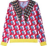 cogumelo de cristal venda por atacado-2018 High End Colorido Cogumelo Lantejoulas Pullover Mulheres Marca Mesmo Estilo Beads Cristais de Tricô Mulheres Blusas Pista de Runas m121714