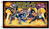 Wholesale American Poster - Kiss Band Music Flag 90x150cm 100D Polyester Fabric Prints 3x5ft American Classic Rock Poster Wall Decoration
