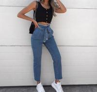 cinturón negro para niñas al por mayor-Vendaje sexy Mujeres de cintura alta Pantalones vaqueros flacos Slim Blue Black Pantalones de mezclilla vintage Cremallera Burr Belt Thin Legs Girls Jeans Plus Wholesale 3XL