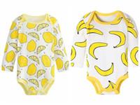 ropa de bebé de banana al por mayor-Bebé niño niña ropa de algodón mono mameluco trajes del mono 0-24M fruta lomon piña plátano impresión mameluco 14 estilos