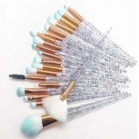 şeffaf elmas toptan satış-Yeni 20 adet / takım unicorn elmas şeffaf makyaj fırça seti göz fırçası makyaj aracı ücretsiz kargo