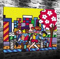 decoração moderna da família venda por atacado-Romero Britto Família, Pintura Em Tela Sala de estar Home Decor Modern Mural Art Pintura A Óleo