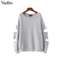 Wholesale Gray Pearl Loose - Vadim women chic cut out oversized pearls sweatshirt hollow out studde long sleeve loose pullover autumn casual sudaderas SW1262