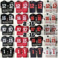 15 16 futbol gömlekleri toptan satış-2015 Ohio State Buckeyes Koleji Futbol Formaları 15 Ezekiel Elliott 16 J.T Barrett 12 Cardale Jones 1 Braxton Miller 97 Joey Bosa formaları