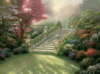 panneaux d'art de jardin peints achat en gros de-Escalier Au Paradis Thomas Kinkade Peintures À L'huile Art Mur Moderne HD Impression Sur Toile Décoration de La Maison No Frame