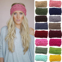 Wholesale winter earmuffs - 1PC Women Hair Accessories Soft Crochet Headband Knit Flower Hairband Ear Warmer Winter Headwrap Earmuffs Fashion