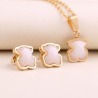 Wholesale new gem earrings - New Trendy Women Party Gift Stainless Steel quality white ceramics gems pendant Jewelry Necklace and Earring Set drop shipping bears jewelry