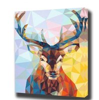 Wholesale abstract art paintings canvas free for sale - Group buy High Quality Handpainted Modern Abstract Animal Art Oil Painting Deer On Canvas Wall Art Multi sizes Frame Options a156