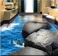 piedra de vinilo al por mayor-losetas de suelo de vinilo pvc Stone Road Dolphin Ocean World 3D mosaico de suelo de baño tridimensional