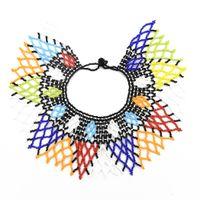 indische perlen großhandel-African Tribal New Fashion Choker Halsketten Bunte Acryl Perlen Indische Ethnische Bib Choker Halskette Für Frauen Charm Bead Schmuck