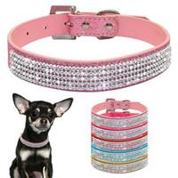 tasma satıldı toptan satış-Pet Pu Rhinestone Diamante Yaka Ayarlanabilir Köpek Çekiş Kemer Moda Açık Köpek Tasmalar Malzemeleri Sıcak Satış 9 1kl4 ff