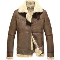 erkek shearling toptan satış-Moda erkek yün kısa ceket erkek kış shearling ceket