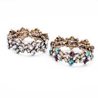 ingrosso i braccialetti indiani liberano il trasporto-Trasporto libero all'ingrosso Moda anti lega colore strass Gioielli indiani BRACCIALE Per Grande fiore fascino braccialetto Bracciale regalo delle donne