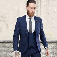 ingrosso vestito da sposa blu navy-Nuovo arrivo Groomsmen blu navy sposo smoking scialle bavero uomo abiti da sposa Best Man sposo (giacca + pantaloni + vest + cravatta) L82