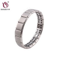 Wholesale germanium magnet for sale - Group buy DANZE Male s Magnet Stone Therapy Health Care Stainless Steel Titanium Germanium Stretch Bracelet Bangles Ornaments Dad Father