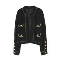 agujero de botón de metal al por mayor-2018 Limited Jumper Sale Sweater Mujer Estilo Vintage Botones de metal con incrustaciones de agujeros huecos en Phnom Penh Cardigan Jacket