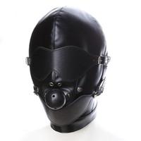 bdsm sex hood toptan satış-Siyah Seks Maske Fetiş BDSM Deri Ağız Göz Köle Hood Top Gag Seks Ürün Oyuncak Esaret Erotik Kostüm Çift Erkekler Kadınlar Için Y1893001