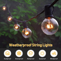 Wholesale christmas bulbs for curtains online - 16 FT Outdoor G40 Globe String Lights Vintage Backyard Patio Lights with Clear Bulbs for Indoor Outdoor Use Hanging Light Strings