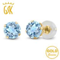 pendientes de oro topacio azul al por mayor-Pendientes Topacio GemStoneKing 1.20 Ct Natural Sky Blue Topaz Stud Pendientes Real 10K Oro amarillo Fine Jewelry For Women