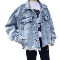 moda coreana al por mayor-Frayed Fashion Korean Jeans Chaqueta Mujeres Ojete Vintage Outerwear Mujeres Otoño Señoras Abrigos Mujeres Denim Chaqueta Mujer Ropa