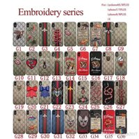 Wholesale Embroidery Wallets - For iPhoneX 7 6S Luxury brand embroidery tiger snake bee animal phone case shell for iPhone7plus hard black cover for iPhone8 8plus