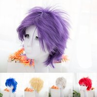 Wholesale wigs for boys for sale - Group buy Anime Cos Fur Wigs Reverse Warping Short Human Hair Wig Colors For Cosplay Easy To Wear zy WW