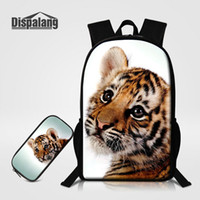 lindas mochilas escolares al por mayor-Multifuncional mochila para niños 2 PCS / Set Bookbags con Pencilcase para niños Cute Tiger Animal Prints School Supplies Schoolbags Rugtas
