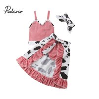 детский красный пояс оптовых-2018  New Toddler Baby Girl Cow Clothes Sets 4PCS Sleeveless Plaid Red Belt Vest Tops+Shorts+Skirts+Headband Outfit 1-5Y