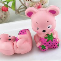 Wholesale happy mouse - Cute Strawberry Mouse Squishy Decompression Toys PU Simulation Animal Shape Squishies Slow Rising Squeeze Toy Pink 16 5ca C