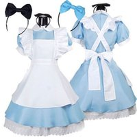 cintas de cosplay al por mayor-Venta caliente Alice in Wonderland Costume Lolita Dress Maid Cosplay Fantasia Carnival Disfraces de Halloween para mujeres Dress + Apron + 2 Headband