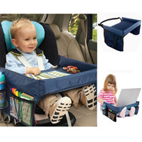 Wholesale car travel tray resale online - Foldable Safety Baby Child Car Seat Table Kids Play Travel Tray Automobiles Seat Covers Car accessories storage box Colors