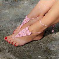 sandalias blancas de ganchillo al por mayor-Pink Crochet Barefoot Sandals, Women Summer Sexy Yoga Footless Zapatos góticos Crochet Blanco descalzo Sandalias, Victorian Lace, Tobillera.