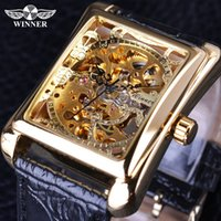 Wholesale Watch Skeleton Rectangle Men - Winner 2017 Retro Casual Series Rectangle Dial Design Golden Pattern Hollow Skeleton Watch Men Watch Top Brand Luxury Mechanical