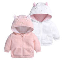 weiße mäntel für babys großhandel-2018 INS Winter Baby Mädchen Mantel Baby Kleidung Fleece Jacke Cute Ohren warme Mäntel Outwear Pink White Navy Green 3 6 9 12 18M Großhandel