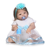 """Wholesale reborn doll dresses - 22"""" bebe girl reborn dolls full body silicone reborn baby dolls rooted smooth hair magnetic pacifier bottle white dress"""