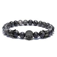 Wholesale wholesale gold skull bracelets - Crystal Crown CZ Skull Men's Bracelets Fashion Jewelry Punk Skeleton Male Bracelet Homme Accessories