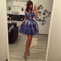 Wholesale girls short homecoming prom dresses - 2018 Mini Short Cocktail Dresses A Line Strapless with Blue Appliques Girls Party Homecoming Dress Prom Gowns Sexy Backless