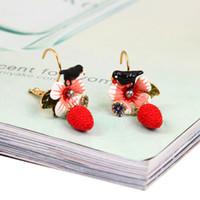 Wholesale Rhinestone Chandelier Earrings Clip - Les Nereides Swallow Strawberry Earrings For Women Real Gold Plated Earring Luxury Enamel Ear Clip Jewelry