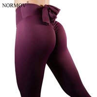 arc noir taille haute achat en gros de-NORMOV Sexy Push Up Leggings Femmes Workout Patchwork Taille Haute Arc Leggins Mujer Noir Bodybuilding Stretch Jeggings 3 Couleur S18101506