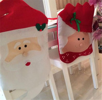 sra santa claus venda por atacado-Casa quente Festivo Papai Noel Sra. Claus Cap Cadeira Capas de Mesa de Jantar de Natal Decoração para Casa Cadeira Tampa Traseira Decoracion