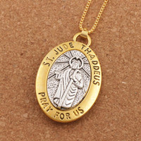 Wholesale Protection Necklaces - 10pcs lot Two-tone ST.JUDE THADDEUS PRAY FOR US 2inch Pendant Necklace Travel Protection Necklaces 24inches N1778