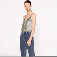 ff7af9e6b501c Crop tops women 2017 summer Sexy V-neck Halter Backless Sequined Tank Vest  gold   silver color Haut femme Cropped shirts blusa