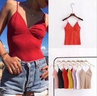 Wholesale girls camisole tops - Women Tops Summer Solid Camis Sexy V Neck Casual Bodycon Sleeveless Camisole Spaghetti Strap Bralette Vest LJJO4313