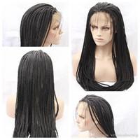 ingrosso trecce di capelli africani neri-A buon mercato Sexy sintetico nero treccia parrucche dei capelli parrucca di pizzo intrecciato africano resistente al calore parrucche sintetiche anteriori del merletto per le donne nere ad alta densità