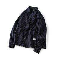ingrosso inverno famosi uomini di marca di abbigliamento-Autunno Inverno Streetwear Camicia a righe Uomo Manica lunga Cargo Camisa Masculina Camicia di jeans casual Marca famosa Mens Abbigliamento retrò Vendita calda
