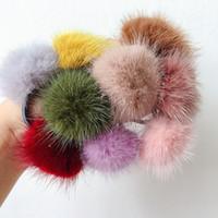 ingrosso fiori di lana-New Fashion Woolen Fur Ball Hair Scrunchies per le donne Ragazze Colorful Elastic Hair Bands Flower Bows Accessori retrò
