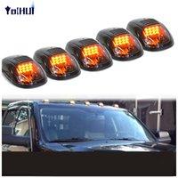 çatı amber ışıkları toptan satış-5 adet Siyah Füme Lens Amber Işık LED Cab Çatı Işaretleyici Kamyon SUV için Işıkları Çalışan
