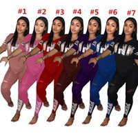 Wholesale Ladies Sequin Shirts - Love Pink Women Tracksuit Sequins V-Neck Pullover T Shirt + Pants 2PCS Set Pink Letter Print Spring Tshirts Sportswear Ladies Clothing Suit