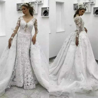 Wholesale Wedding Gowns Muslim Brides - Luxury Lace Overskirt African Mermaid Wedding Dresses with Detachable Skirt Applique Plus Size Floral Bridal Gown Train Bride Dress Custom